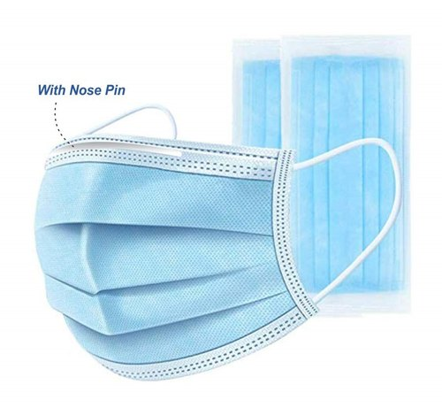 3 Ply Disposable Face Mask With Nose Pin