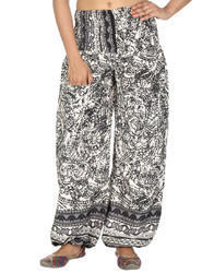 Genera Art Silk Printed Black Harem Regular Casual Girls Trouser, Waist Size: 24 Inch