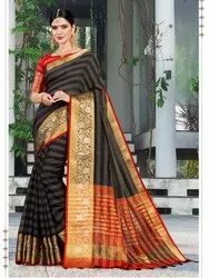 Cotton Silk Bridal Wear Fancy Saree With Blouse Piece