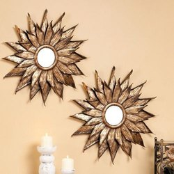 Wooden Round Decorative Wall Mirror Sets