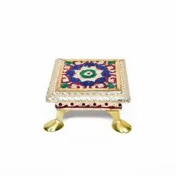 Handcrafted Wooden Golden Mina Chowki