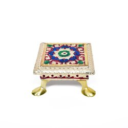 Handcrafted Wooden Golden Chowki, Dimension: 4x4x2 Inches