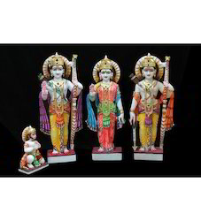Shree Ram Darbar Colored Marble Statues