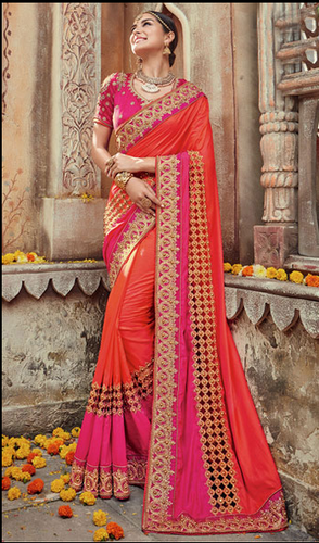 e978bc454eaa Orange, Pink Georgette Orange And Pink Color Embroidered Designer Wedding  Saree, With Blouse