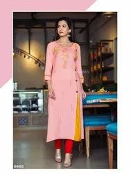 Cotton Straight Ladies Kurti, Wash Care: Handwash