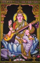 Cotton Saraswati Maa Colorful Design Picture Tapestry Poster, Soft Wash, Dry In Shade, Size: 40 X 30 Inch