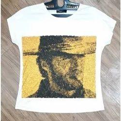 Half Sleeves Round Ladies Printed T Shirt