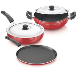 Aluminium 3 Layer Coating Veronica Gift Set 4 Pieces with SS Lid