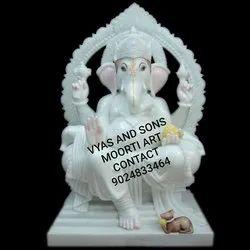 Ganesha White Marble murti