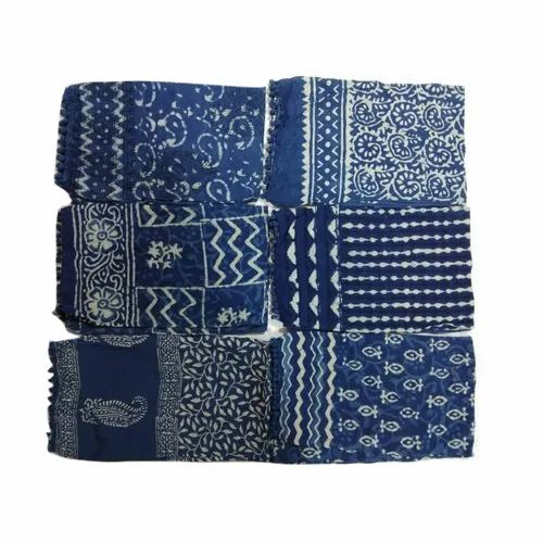 Ladies Printed Indigo Cotton Dupatta
