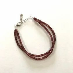 Natural Red Garnet Stone Faceted Beads Silver Bracelets