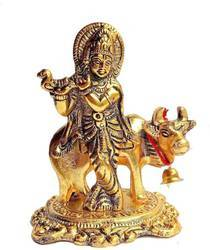 Bharat Handicrafts Cow With Krishna Gold Plated