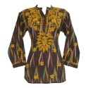 Ladies Soft Cotton Chikan Embroidered Tops