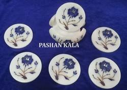 Marble Tea Coaster with Inlay Work