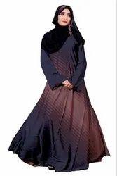 Women's Nida Printed Abaya Burka With Hijab Dupatta
