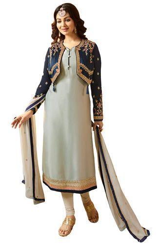 c6f98722b9ff Satin Party Wear Jacket Koti Style Salwar Kameez Suits