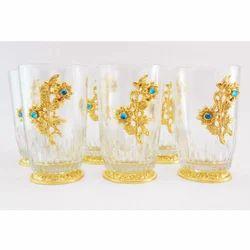 Susajjit Decor Golden Drinking Glass