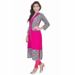 Ladies Full Sleeve Pink Kurti