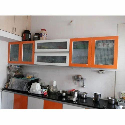 White And Orange Glossy Modular Kitchen Rs 1800 Square Feet