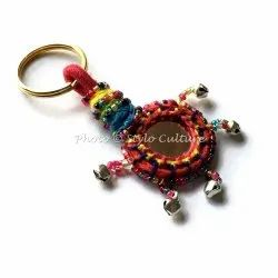 Christmas Indian Bohemian Silk Thread Beads & Bells Key Chain