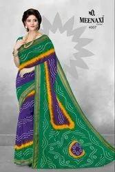 Multicolor SHREE MEENAKSHI Cotton Rajwadi Bandhni Saree With Resham Boder, Size: 5.5, Machine Made