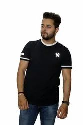 Navy Blue with White Cotton T Shirts