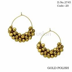 Fusion Gold Plated Bali Ghungroo Earrings