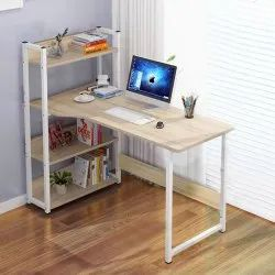 Computer Desk Writing Study Table with 4 Tier Bookshelves for Multipurpose Compact PC Workstati