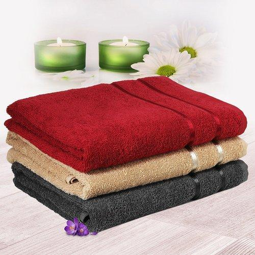 7387f1600f6 3 Piece 450 Gsm Cotton Men Bath Towel Set - Wine Red And Bei at Rs ...