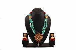 SPJ020 Antique Crooked Turqouise Beads Ganesha Temple Pendant