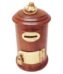 Wooden Post Box Money Bank