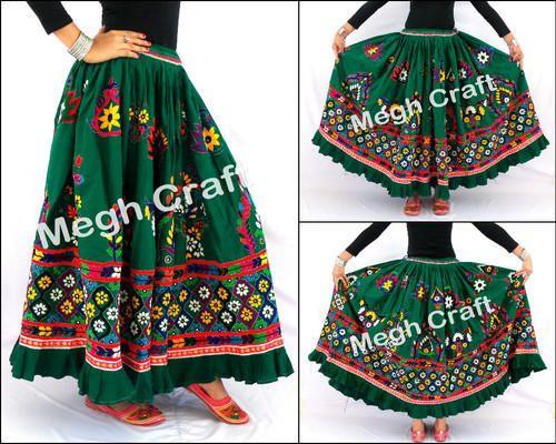 0c937ddb64 Cotton Multicolor Designer Kutch Embroidery Rabari Skirt -Vintage Chaniya,  Size: XL