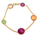 Multi Gemstone Hot Colour Combination Bracelet for All Occasion Beautiful Chain Bracelet Gold Plated