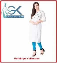 Ladies Rayon White Embroidery Kurti