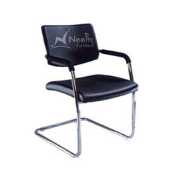NF-156 SS Frame Black Leather Conference Chair