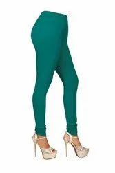Cotton And Lycra Blended Plain Churidar R Green Premium Legging