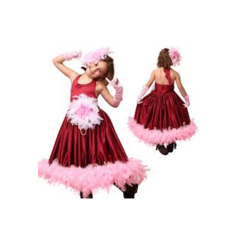 Maroon And Pink Satin Girls Designer Gown, Size: Small