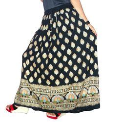 Ladies Printed Long Rayon Skirt