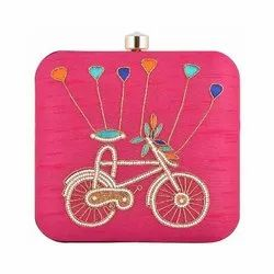 Azzra Cycle Design Pink Zardosi Work Clutch