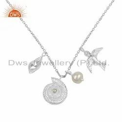 Pearl Designer 925 Sterling Fine Silver Charm Necklace