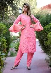 Muslin Embroidered Partywear Kurti Set With Umbrella Sleves