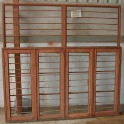 Brown Double Door Window