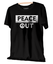 Black Round Neck Graphic Printed Peace Out UnisexT-Shirt