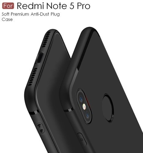 half off a9cd9 43238 For Xiaomi Redmi Note 5 Pro Back Cover Black Candy Soft Case