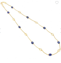 Eliza Blue-Saphire With Pearl Gold Chain