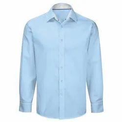 Swiss Club Blue Mens Full Sleeves Plain Cotton Shirt, Machine wash