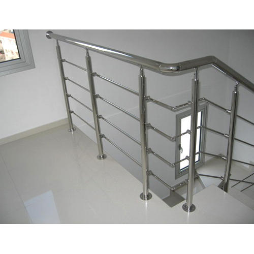 Stainless Steel Silver Color Residential Staircase Railing