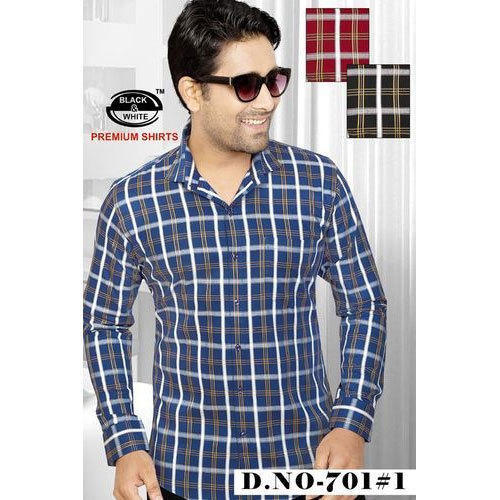 89463f5670 Denim Checkered Mens Shirt