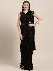 Ready To Wear Saree, Black