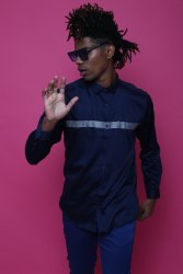 Designer Navy Blue Full Sleeve Men Casual Cotton Satin Shirt
